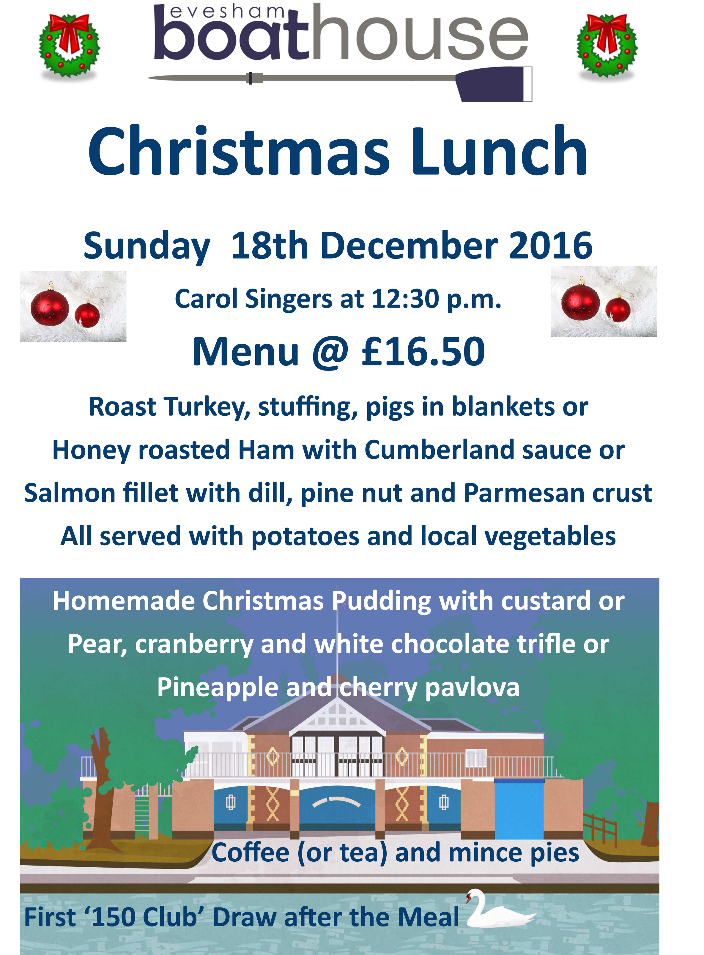 2016 12 Noticeboard '150 Club' Christmas Lunch Poster Sunday 18t